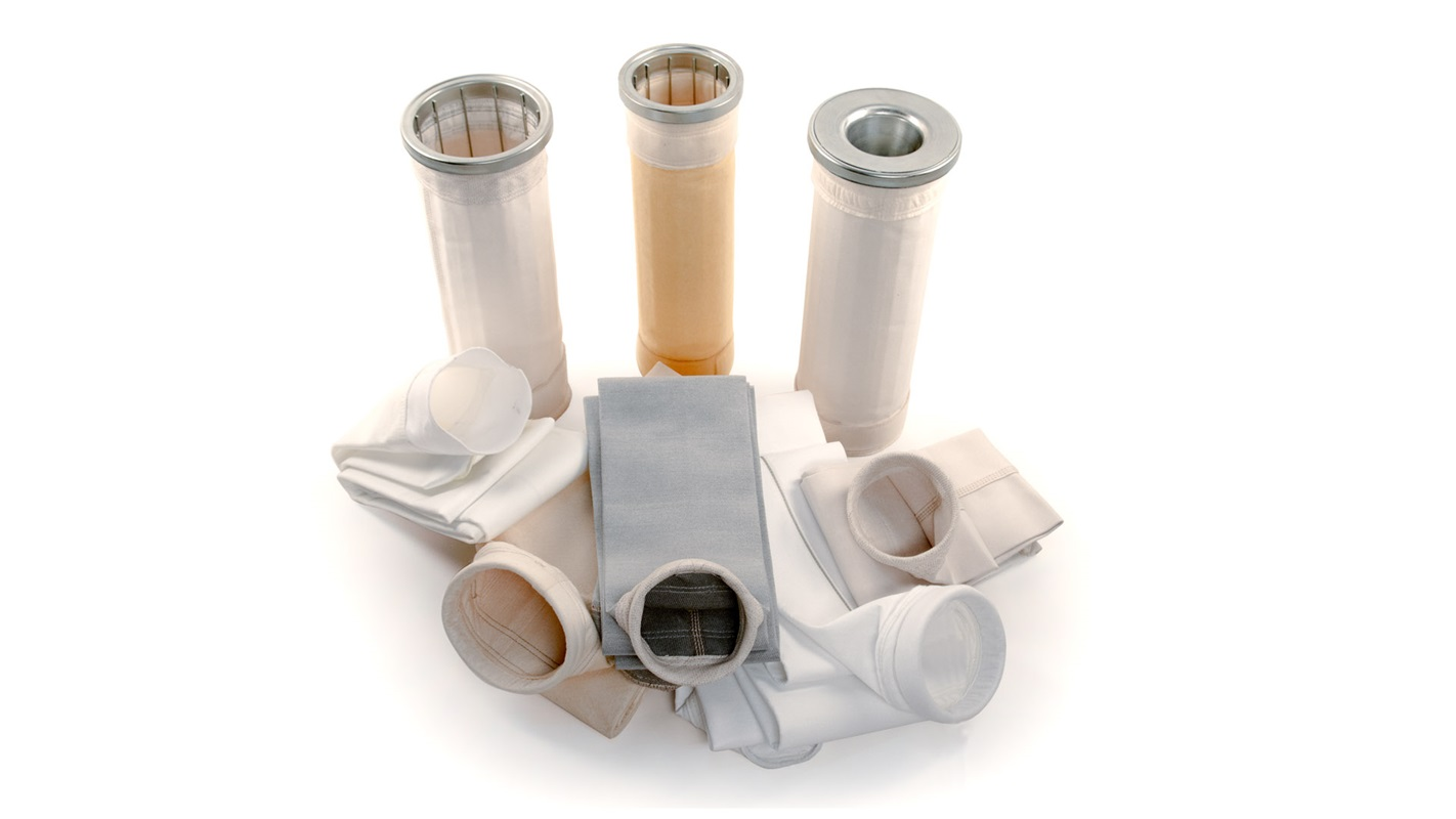 Collection of pulse-jet filter bags with cages