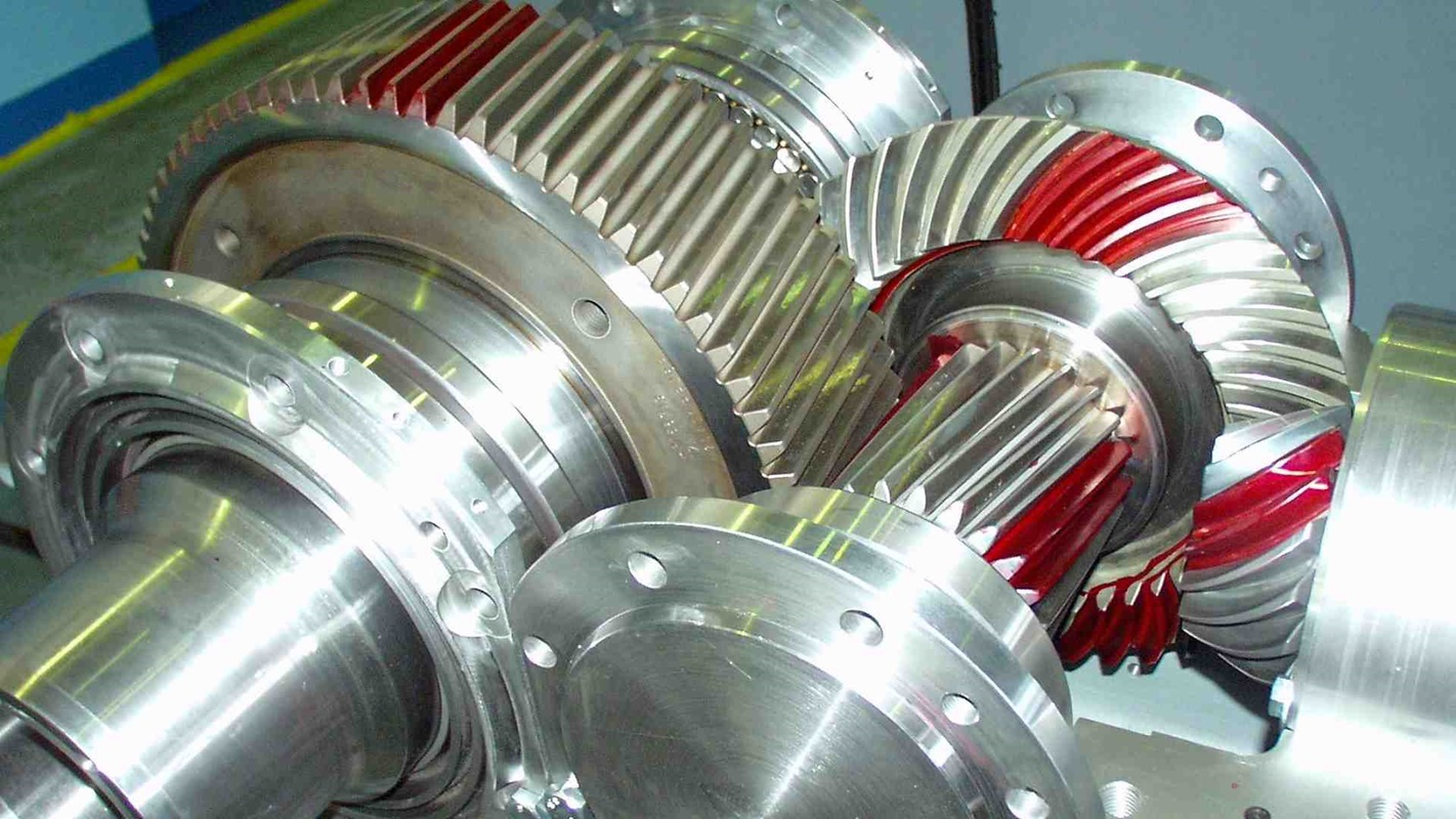 MAAG® KA gear unit without top cover showing bevel and spur gear stage