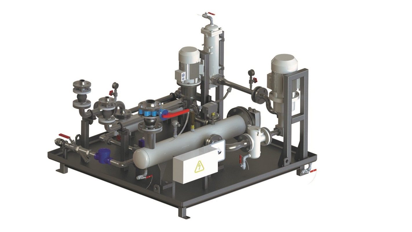 Lubrication system with main pump, filter and cooler