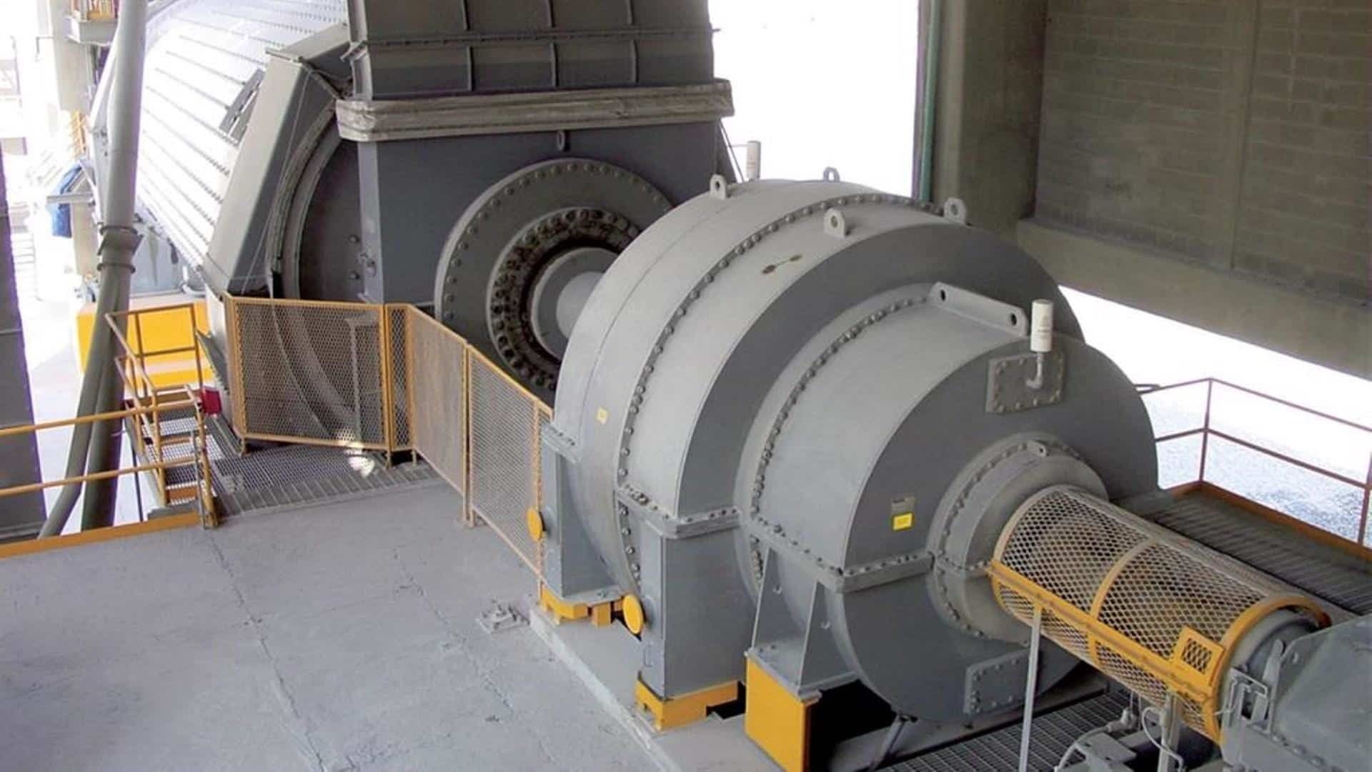 MAAG CPU gear unit installed in a cement plant driving a ball mill