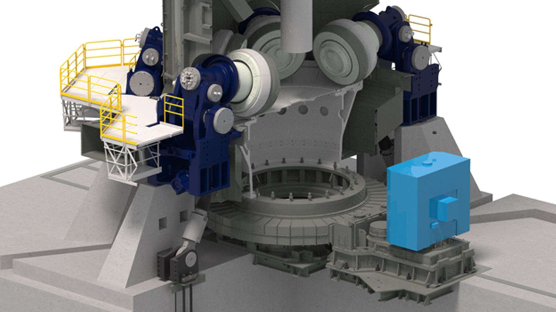 3D Illustration of MAAG® MAX Drive installed in a OK mill for cement grinding