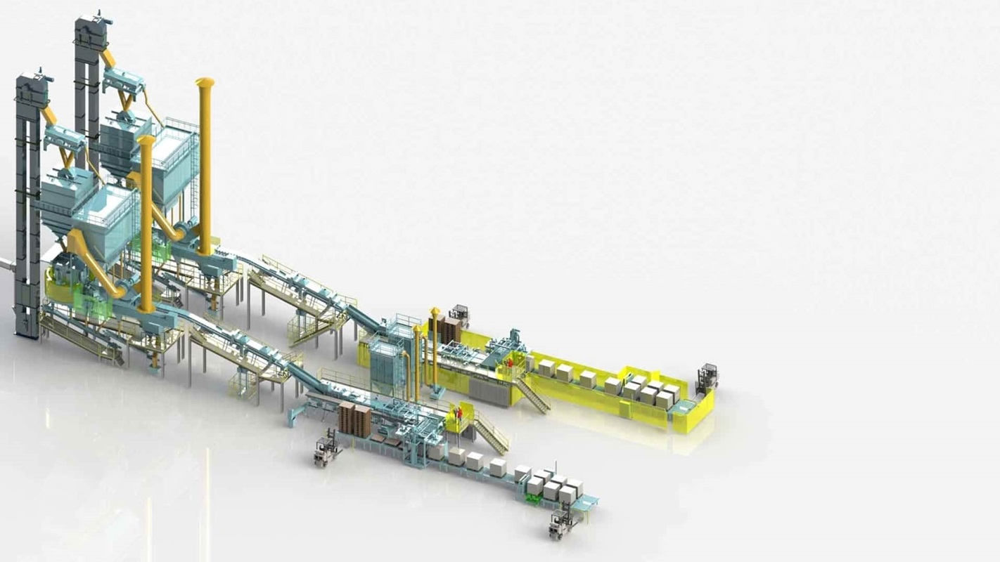 VENTOMATIC high capacity cement packing and palletizing line